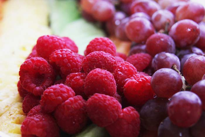 Raspberries and grapes